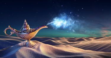 Lamp of Wishes In The Desert - Genie Coming Out Of The Bottle